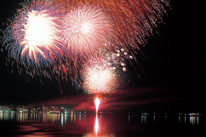 夏の湖上花火